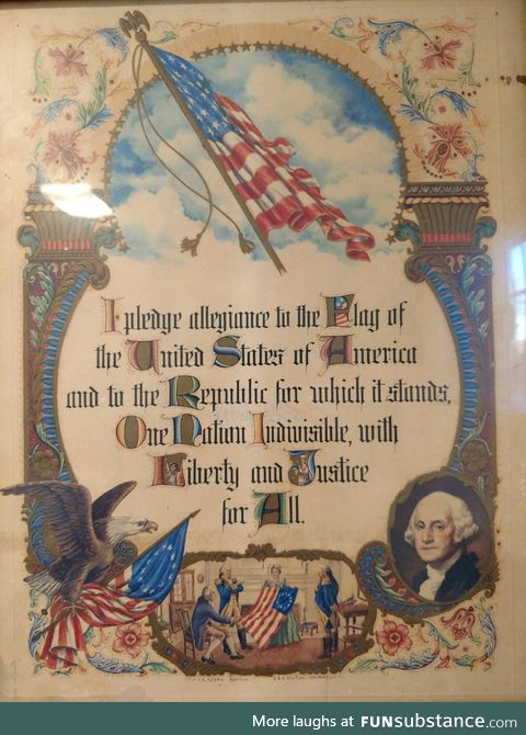 Antique Pledge of Allegiance poster seems to be missing something