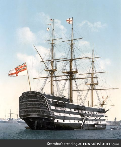 HMS Victory, oldest serving ship in the British Navy. Launched in 1765, fought against