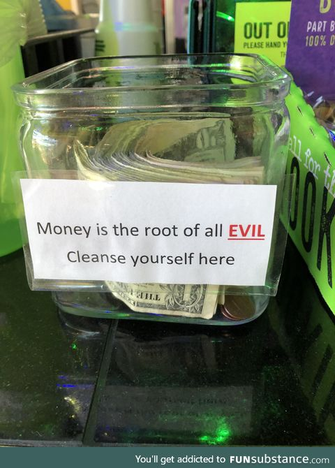 The tip jar from a near by restaurant