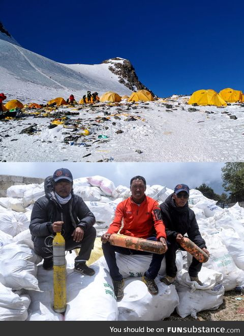 Trashtag challenge on Mount Everest. Results: 11 tons of trash and 4 dead bodies