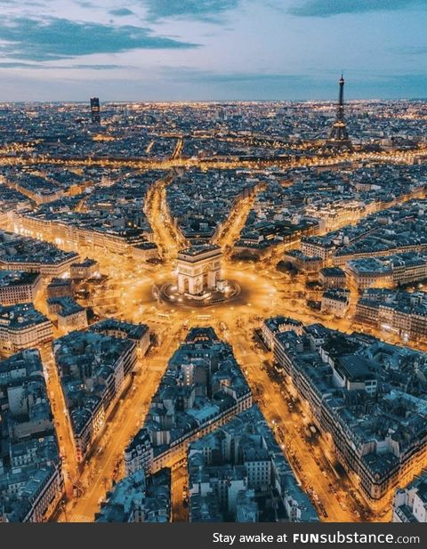 Paris as the sun sets