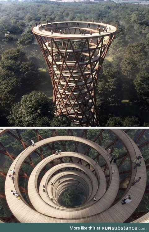 Spiral Treetop Walkway in Danish forest