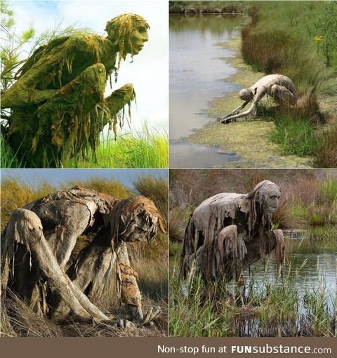 Swamp creatures in a French nature reserve by Sculptor Sophie Prestigiacomo