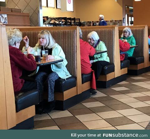 Each booth is an alternate reality.........