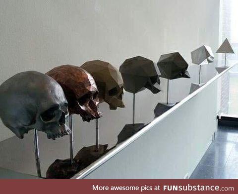 Pixel blur scultures of a human skull