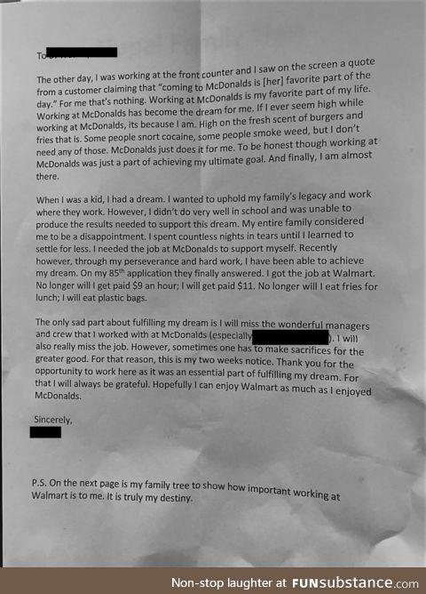 McDonald's Resignation Letter