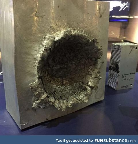 This is what happens to aluminium if 1/2oz (15mL) piece of plastic hits it at 15000mph