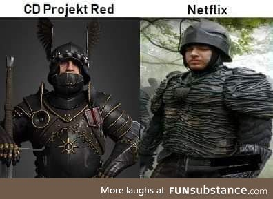 Nilfgaardian armour in the Witcher games vs the show