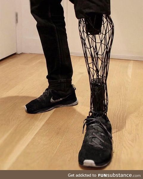 This prosthetic leg made from titanium