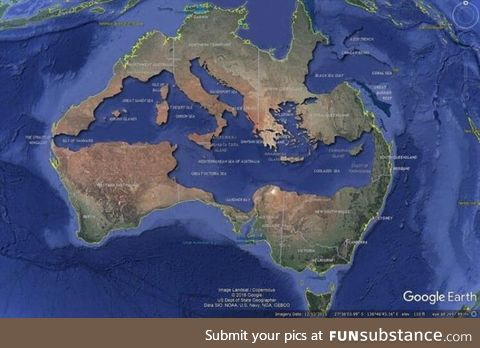 The Mediterranean Sea fits perfectly inside Australia