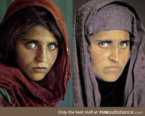Sharbat Gula, left on the cover of National Geographic in 1985, and then nearly two