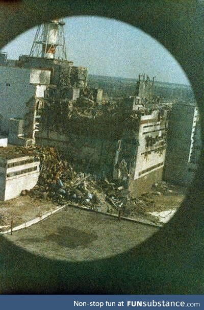 First picture taken of Chernobyl's reactor 4. Taken only 14 hours after the