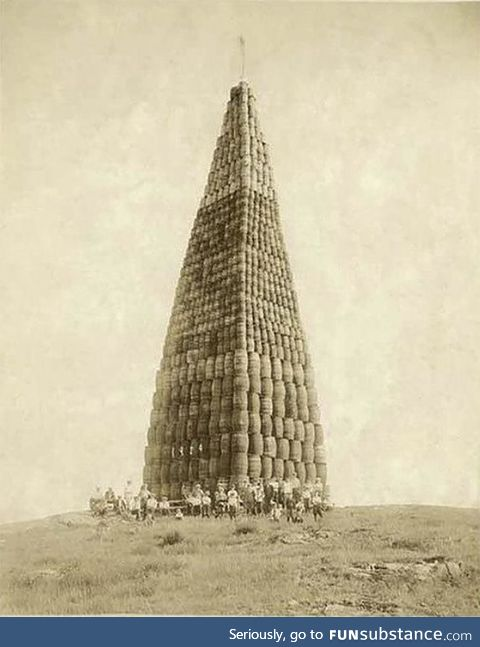 Liquor barrels stacked and ready to be burned during the prohibitionary times