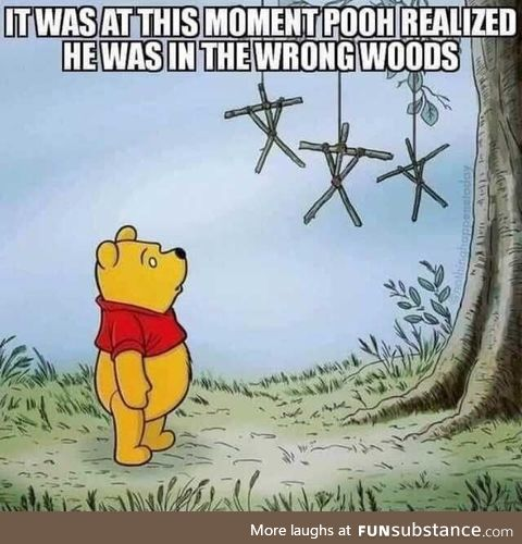 When Pooh realized he was in the wrong woods