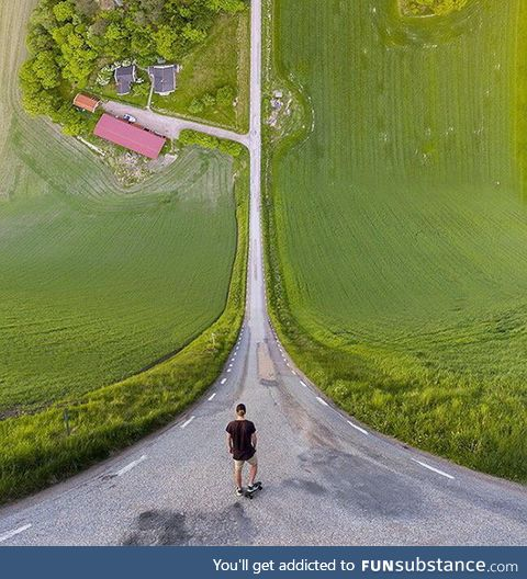 5 different pictures, taken by a drone, stitched together to create this inception style