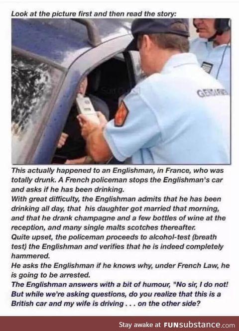 Drunk Brit in France