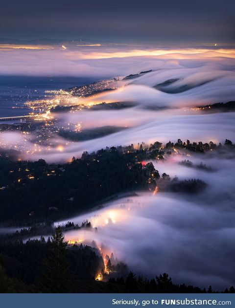Fog rolls over the city of Marin. (Learning photography from YouTube and would appreciate