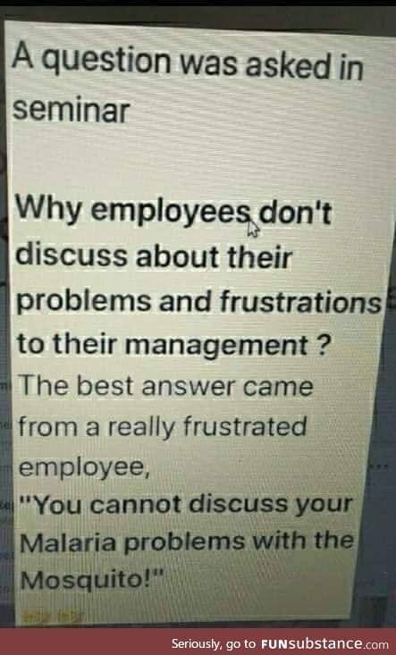An employee don't leave the company, but he/she/it leaves his/heits manager
