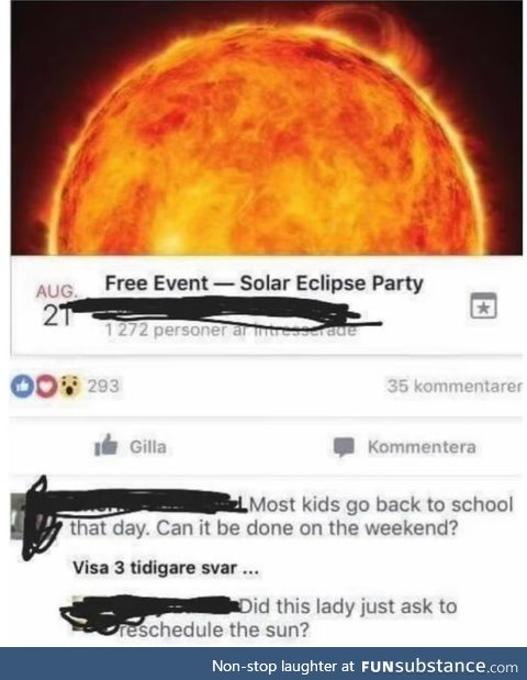 Can we reschedule the sun?