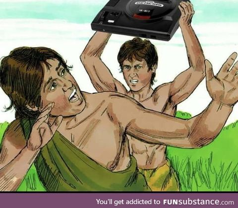 Cain killing Abel with a Sega Genesis, 5000 BC (Colorized)