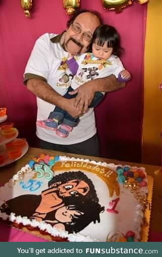 Old Dragon Ball fan with his birthday cake