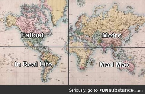 Where games with post-apocalyptic setting are located