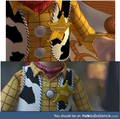 Woody's chest side by side compare (Toy Story 1 and Toy Story 4)