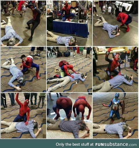 This guy went to ComicCon dressed as Uncle Ben and died in front of every Spider Man he