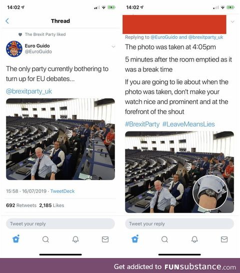 Guido Fawkes posted a photo claiming the Brexit party were the only ones attending an EU