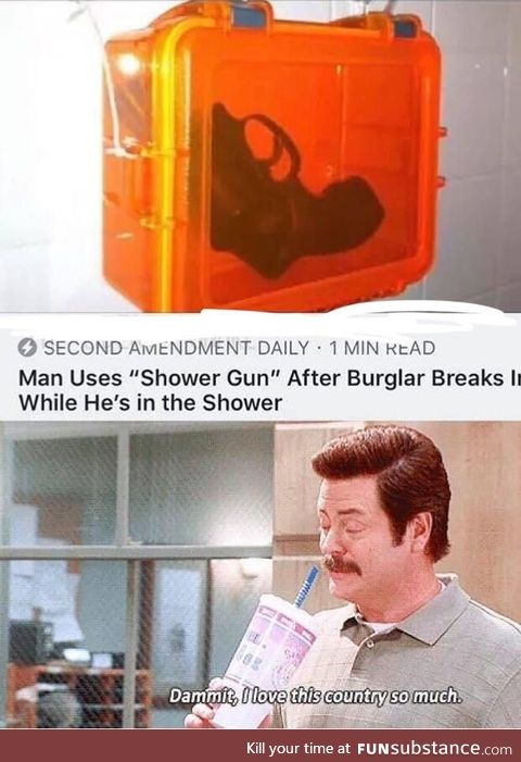 Man uses shower gun, it's very effective