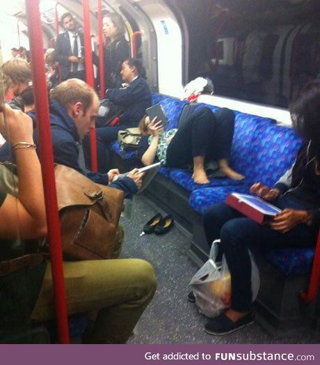 This woman was 'womanspreading' on the London Underground