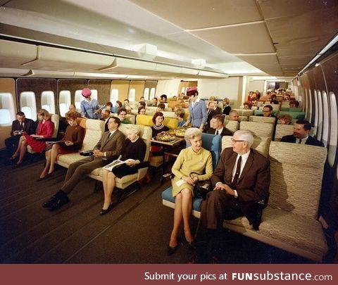 Economy class, PanAm flight in the 70's