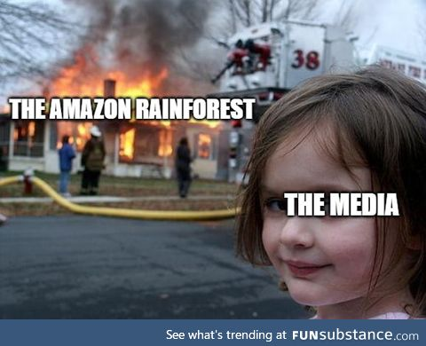 The Amazon rainforest is on fire, and the media's not giving attention towards it