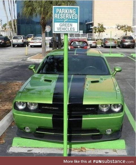 Green vehicle parking only