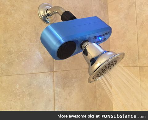 This Bluetooth shower speaker is powered by a micro hydroelectric generator