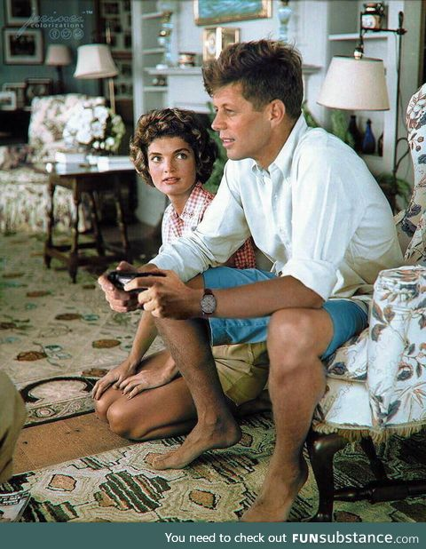 John F. Kennedy playing GTA IV to prepare for the Cold War (1962, Colorized)