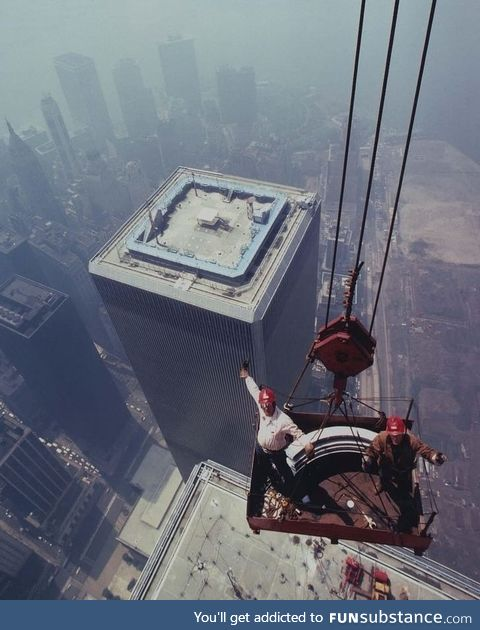 Installing the antenna on the North Tower of the World Trade Center