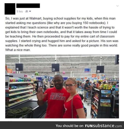 Wholesome man helping a teacher