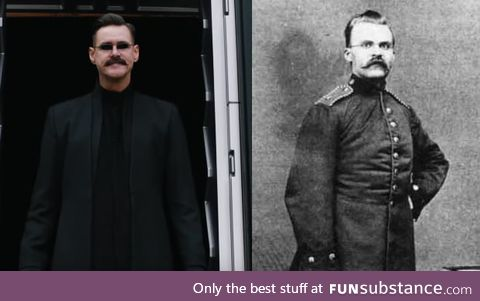 Friedrich Nietzsche's great grandson (2019) vs him at the same age (1879)