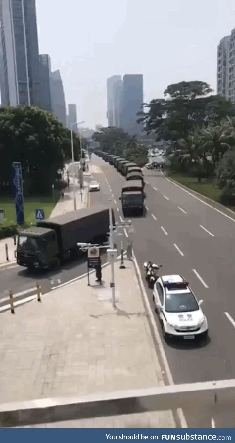Just the Chinese army mobilizing around Hong Kong... Nothing to see here, avert your