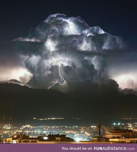 This thunderhead over Sardinia.