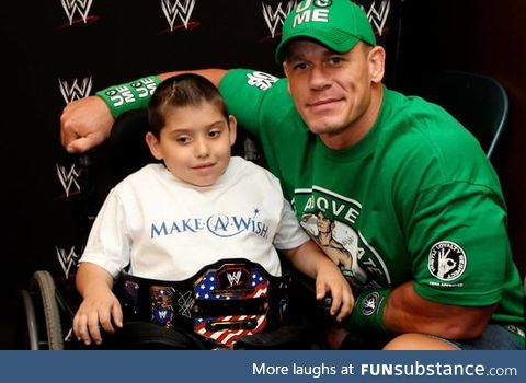 Over 11 years, John Cena has granted 500 wishes for the Make-a-Wish Foundation. That