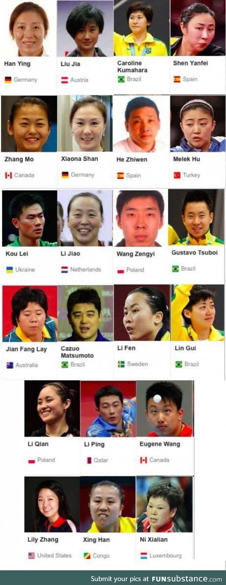 The amazing diversity in table tennis players around the world