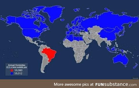 All the nations that have to be combined to equal Brazil's annual homicides