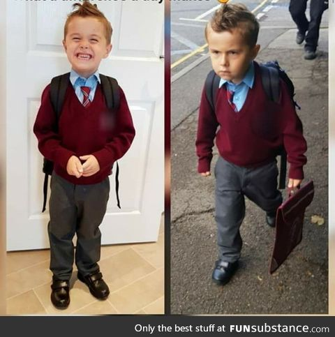 Before and after Pic of 5 year old on first day of School