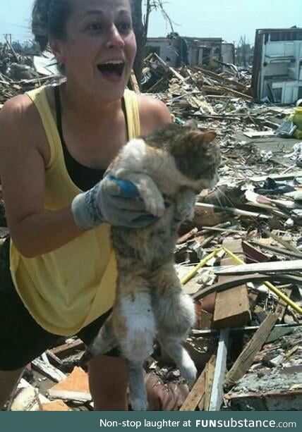 She found her cat alive 16 days after tornado