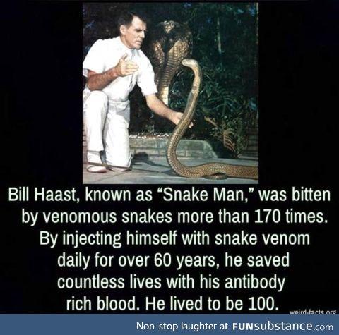 "Bill haast, ""the snake man"""