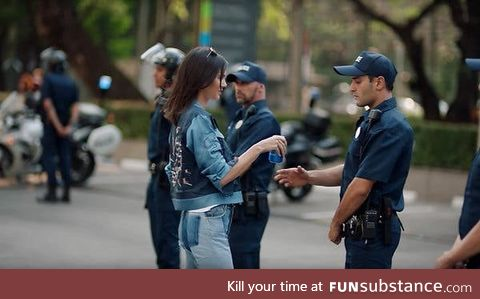 Kylie Jenner ends the Hong Kong protests using a can of Pepsi, circa 2020