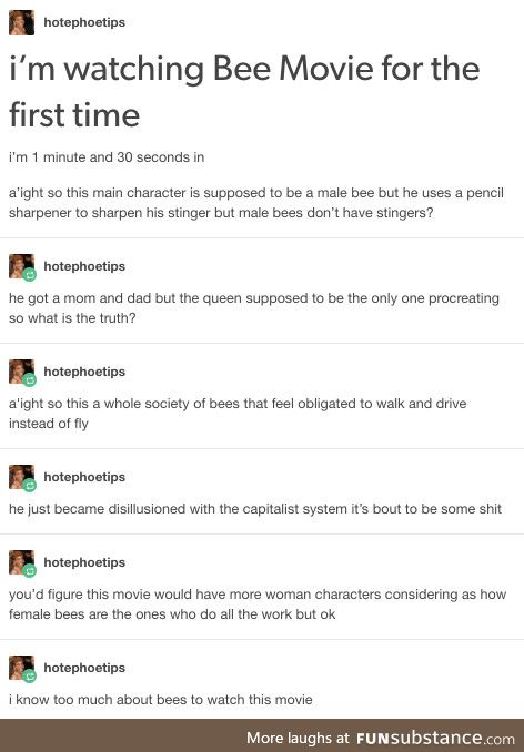 A bee keeper watches The Bee Movie
