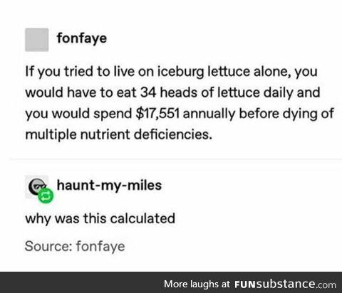 Living off lettuce